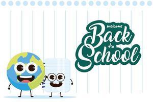 la scuola kawaii fornisce personaggi per il ritorno a scuola vettore