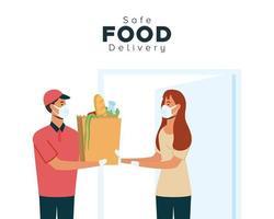 concetto di consegna di cibo sicuro vettore