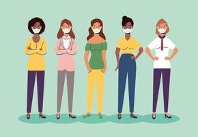 personaggi di donne diversità che indossano maschere facciali vettore