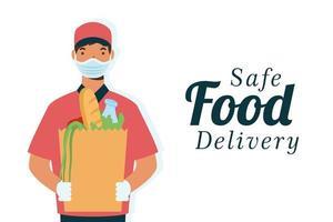 banner di concetto di consegna cibo sicuro vettore