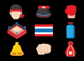 Muay Thai icone vettoriali