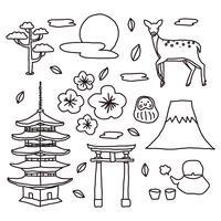 Doodles di elementi giapponesi vettore