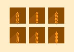 Orecchie di grano marrone piatte vettore