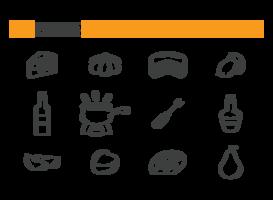 Fonduta icone vettoriali