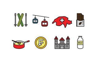 Set di icone della Svizzera vettore