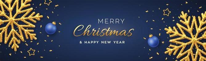 sfondo blu di Natale con brillanti fiocchi di neve dorati vettore