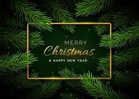 banner di Natale con rami di albero e cornice dorata vettore