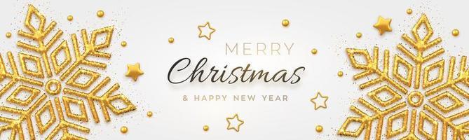 sfondo di Natale con brillanti fiocchi di neve dorati vettore