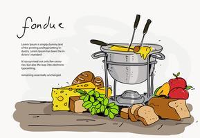 Illustrazione disegnata a mano di vettore dell'insieme della fonduta di formaggio