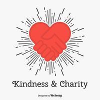 Concetto di vettore di carità e di gentilezza con l'icona del cuore di amore di scossa della mano
