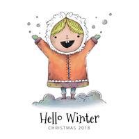 Bambina sveglia che sorride con i vestiti di inverno all'aperto con neve