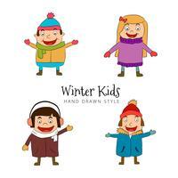 Carattere divertente dei bambini che indossa la raccolta del costume di inverno