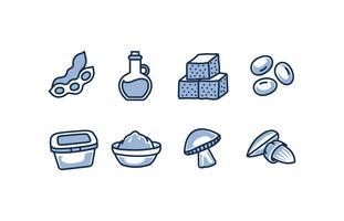 Pack di icona di cibo di soia vettore