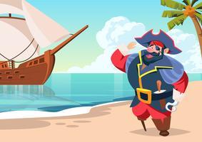 Pirata Seaman su Island Vector