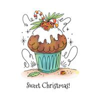 Dessert di Natale carino con bacche, foglie e bastoncino di zucchero vettore
