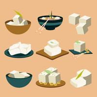 Vettore delle icone dell'alimento vegano del tofu