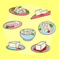vettore di piatti di tofu
