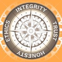 Concetto del segno della bussola di integrità corporativa vettore