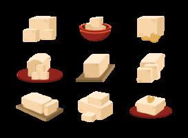 Vettore delle icone del tofu