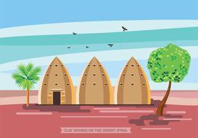 Illustrazione di Clay Houses sul deserto, in Siria vettore