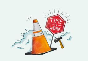 Acquerello tempo di lavoro vettoriale