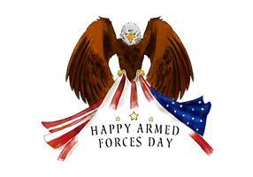 Aquila calva con la bandiera americana per il vettore di giorno della forza armata