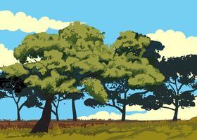 Paesaggio del vettore dell'albero di gomma