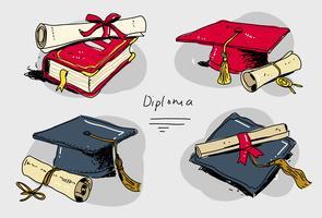 Illustrazione disegnata a mano stabilita di vettore di grado del diploma