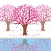 Illustrazione giapponese dell'albero del fiore della prugna vettore