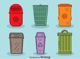 Vettore del cestino dei rifiuti colorati disegnati a mano