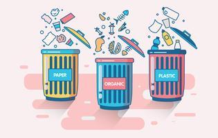 Vettore dell'illustrazione del cestino dei rifiuti