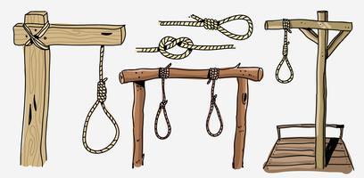 Illustrazione disegnata a mano di vettore del nodo della corda del patibolo