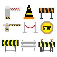 vettore del guardrail e del segnale stradale