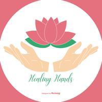 Mani curative che tengono l'illustrazione del fiore di loto