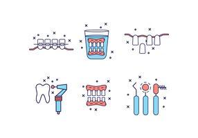 Icona di denti piatto dei cartoni animati vettore