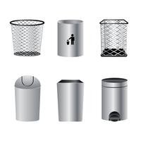 Vettore realistico del cestino dei rifiuti