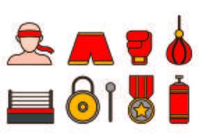 Set di Muay Thai Icon vettore