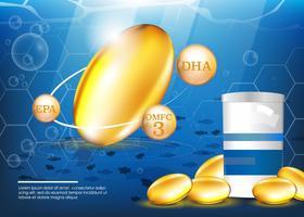 Vettore di supplementi di olio di pesce