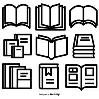 Set di icone del libro stile linea vettoriale
