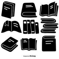Set di icone del libro stile disegnato a mano di vettore