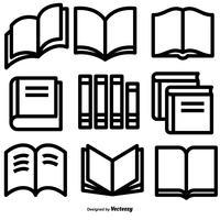 Set di icone del libro stile vettoriale linea