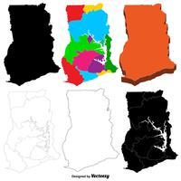 Insieme della mappa del Ghana di vettore