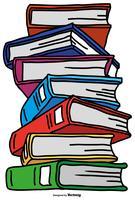 Vector pile di libri stile fumetto a colori