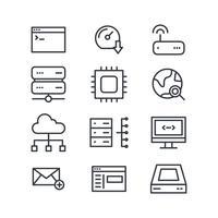 Icone dominio in bianco e nero vettore