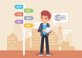 illustrazione di ricerca del nome di dominio vettore