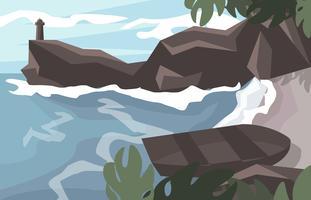 Vettore dell'illustrazione del paesaggio dell'isola della spiaggia di paradiso di baia