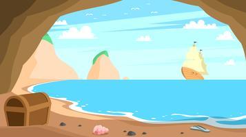 Nave di pirata che cerca tesoro nel vettore libero della baia