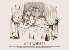 Aphrodite disegnato a mano vettore