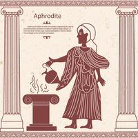 Afrodite della dea greca con una brocca nella sua mano vettore
