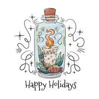 Vaso carino con candela di Natale, foglie e frutti di bosco
